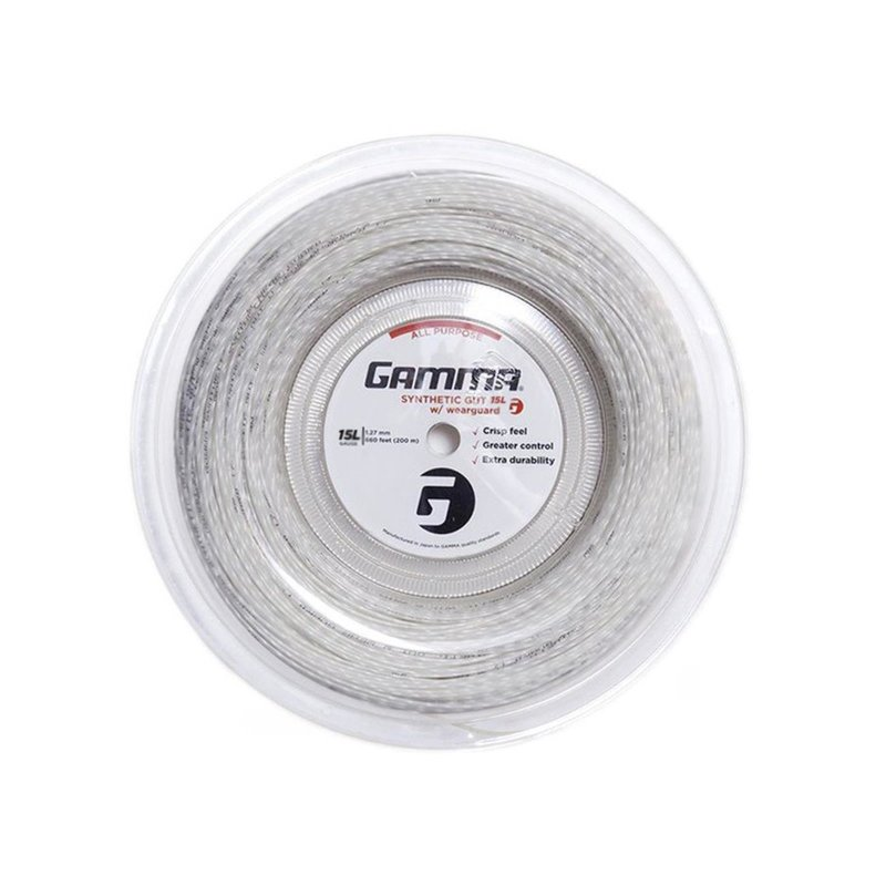 Gamma Tennissaite Synthetic Gut mit WearGuard 200 m Rolle Weiß 15L (1.35 mm)
